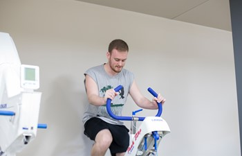 Lance Leach on exercise bike