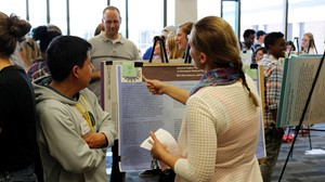 Anoka-Ramsey Community College students present their undergraduate research as part of the college's recent Outstanding Scholarship, Creative Activities and Research Symposium (OSCARS).