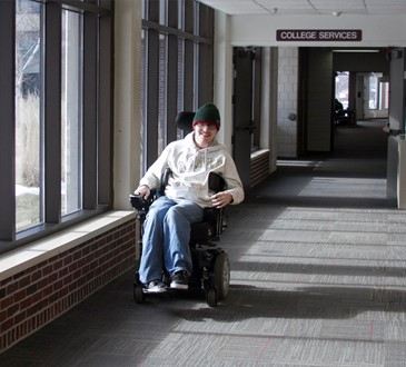 wheelchair in hallway