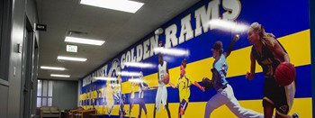 golden rams wall in health and wellness center hallway