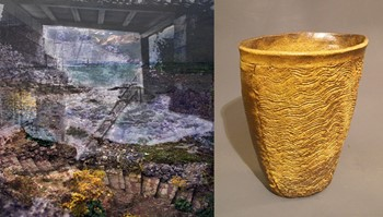 Come Live Inside the Seashore by Jes Lee Shimek (left) and Plowed Earth Vase by Erick Wiger (right)