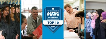 photos of students and faculty with Aspen Prize top 10